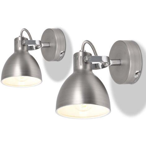 Lámparas de pared para 2 bombillas E14 gris 2 unidades