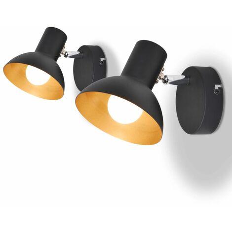 Lámparas de pared para 2 bombillas E27 negra dorada 2 unidades