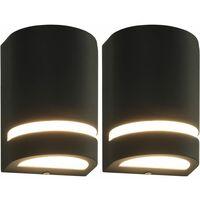 Lámparas de pared para jardín 2 uds. semicircular negra 35 W