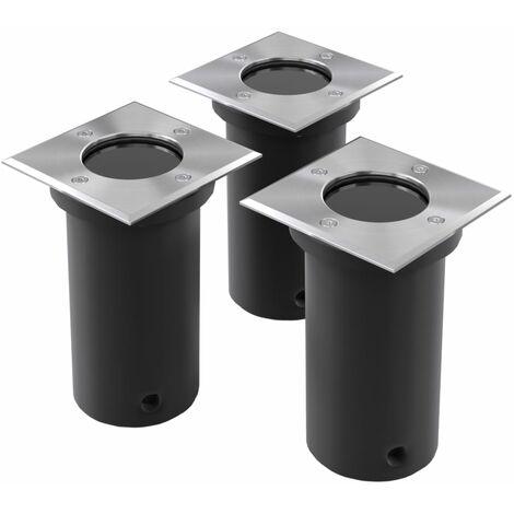 Lámparas de suelo de jardín cuadradas 3 unidades