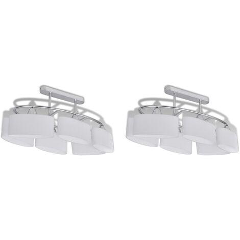 Lámparas de techo 2 uds con pantalla de cristal elipsoidal E14