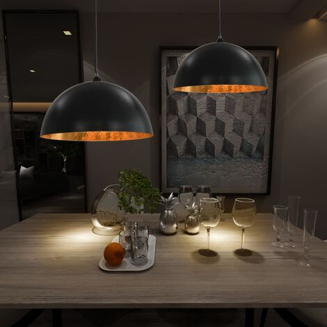 Lámparas de techo 2 uds semiesféricas negro y dorado 50 cm E27