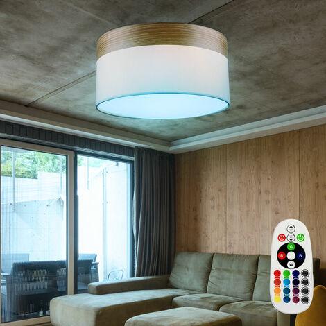 lámparas de techo luz del pasillo sombra textil madera lámpara de color beige a distancia ajustado incl. LED RGB