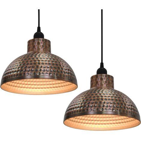 Lámparas de techo semiesféricas 2 unidades color cobre