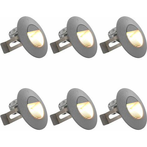 Lámparas LED de pared para jardín 6 uds. redonda plateada 5 W