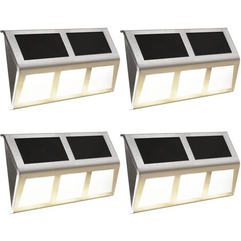 Lámparas solares 4 uds luces LED blanco cálido