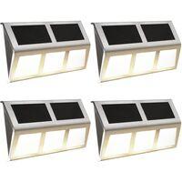 Lámparas solares 4 uds luces LED blanco cálido