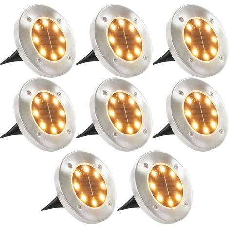 Lámparas solares de suelo 8 uds luces LED blanco cálido