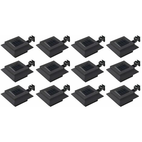 Lámparas solares LED de exterior 12 uds. cuadradas 12 cm negro