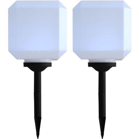 Lámparas solares LED de exterior 2 uds cúbicas 20 cm blanco