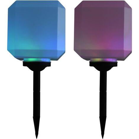 Lámparas solares LED de exterior 2 uds cúbicas 20 cm RGB