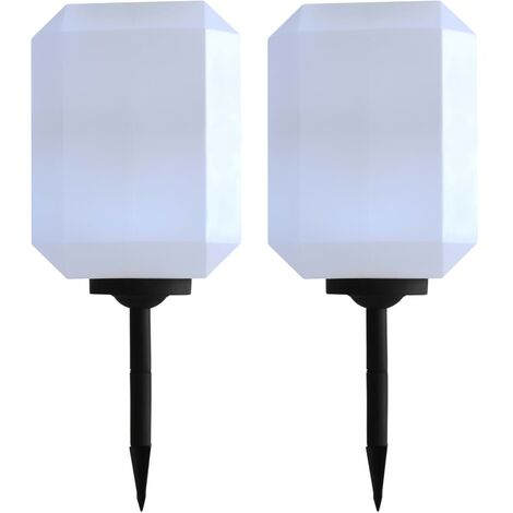 Lámparas solares LED de exterior 2 uds cúbicas 30 cm blanco