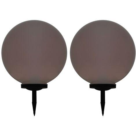 Lámparas solares LED de exterior 2 unidades esféricas 50 cm RGB