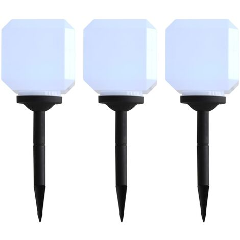 Lámparas solares LED de exterior 3 uds cúbicas 20 cm blanco
