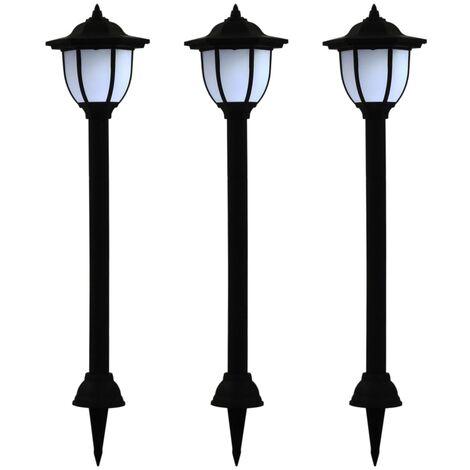 Lámparas solares LED de exterior 3 unidades negro