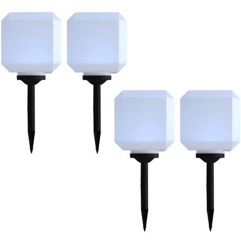 Lámparas solares LED de exterior 4 uds. cúbicas 20 cm blanco