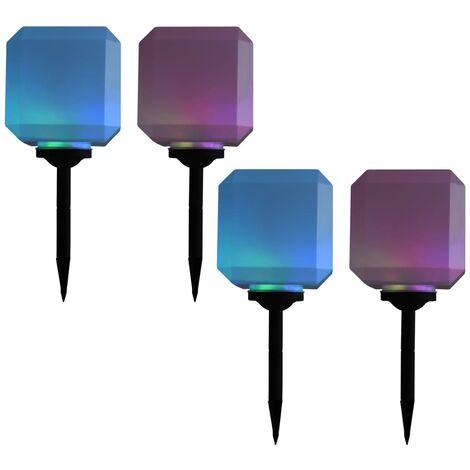 Lámparas solares LED de exterior 4 uds. cúbicas 20 cm RGB