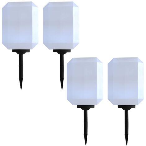 Lámparas solares LED de exterior 4 uds. cúbicas 30 cm blanco