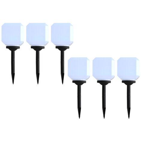 Lámparas solares LED de exterior 6 uds. cúbicas 20 cm blanco