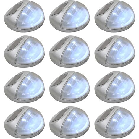 Lámparas solares LED de pared exterior 12 uds redondas plateada