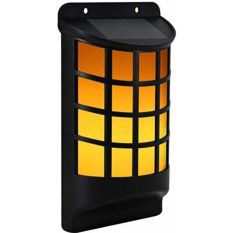 Lámparas solares para exterior luz de pared de jardín luz solar exterior pared de luz solar de jardín, linterna estilo casa de campo negro, 60x LED 1600 -1800K blanco cálido, WxH 10x18 cm