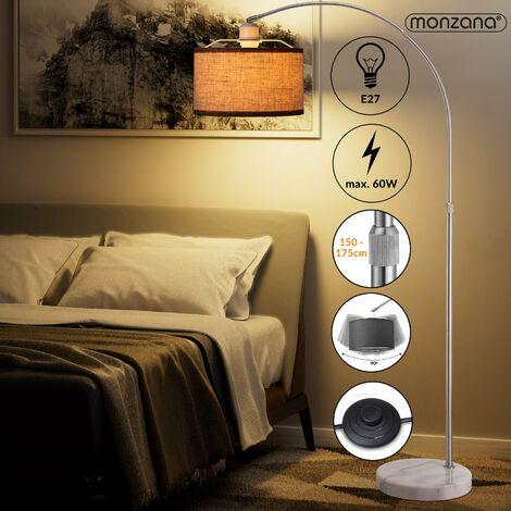 Lampe à arc moderne socle en marbre réglable 133-180 cm culot E27 lampadaire sur pied design classique maison luminaire intérieur interrupteur à pied