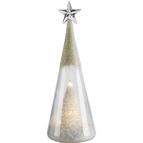 Lampe à cône en verre de table à LED Sapin de Noël X -MAS Lampe étoile à paillettes de décoration debout