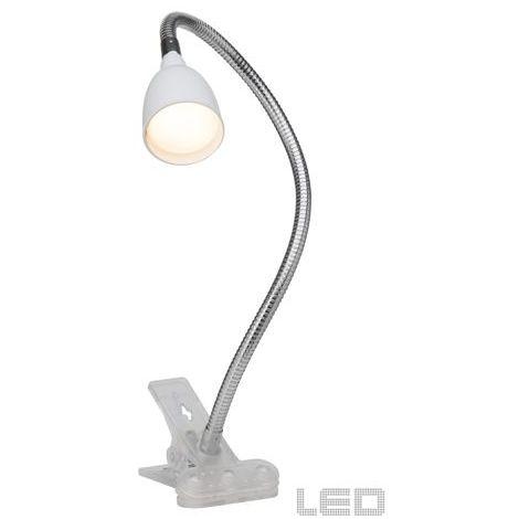 Lampe à fixation pince ANTHONY 1x2 4W LED intégrée ACIER VERRE BLANC