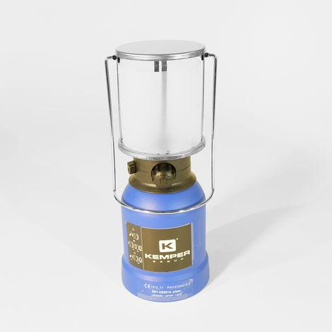 Lampe à gaz Kemper coque ABS - Lampe de camping à gaz avec 4 cartouches de gaz - Lampe de camping pour cartouche gaz 190g