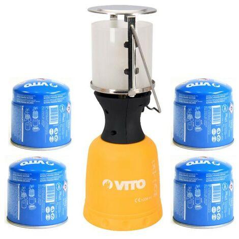 Lampe à gaz VITO + 4 Cartouches gaz 190gr Lanterne pour bouteille camping gaz 190g perçable