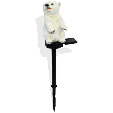 Lampe a gazon artisanale en resine solaire, blanc chaud IP55, ours blanc