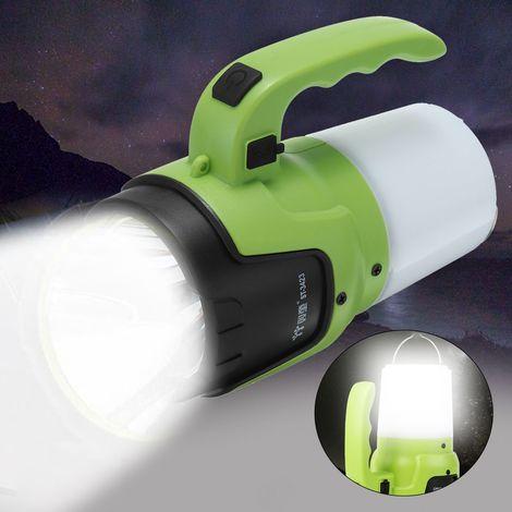 Lampe à main rechargeable Étanche 2 modes Lampe de poche Led Lanterne 10W 4000MA Torche de projecteur Lanterne rechargeable Longue portée Lampe de chasse extérieure Projecteur portable Sasicare