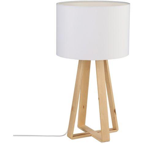 Lampe à pied en bois - H. 47,5 cm. - Blanc - Blanc
