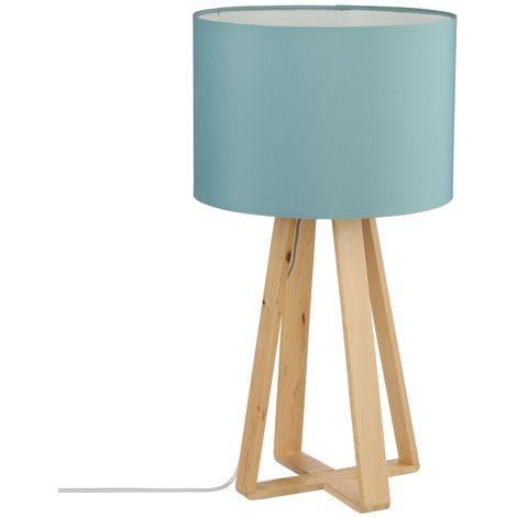 Lampe à pied en bois - H. 47,5 cm. - Bleu - Bleu