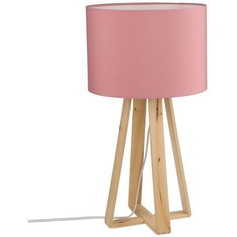 Lampe à pied en bois - H. 47,5 cm. - Rose - Rose