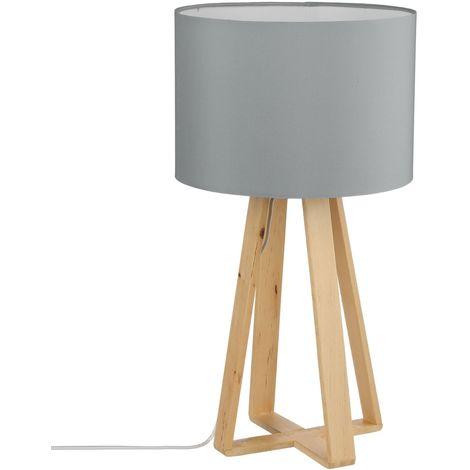 Lampe à pied en bois Scandinave - H. 47,5 cm - Gris - Gris