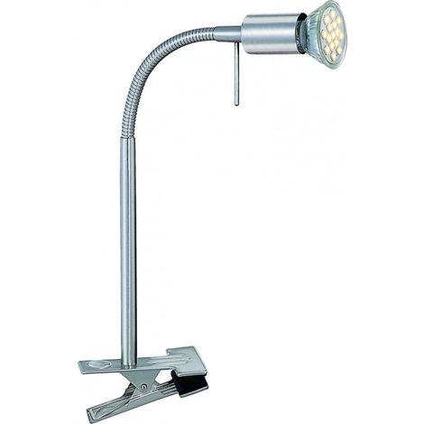 Lampe Á pince LED luminaire éclairage DEL nickel mat bureau cabinet de travail