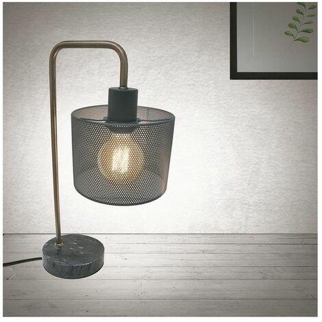 Lampe à poser abat-jour grillagé et pied en marbre, L 16 x l 24 x H 47 cm - Gris