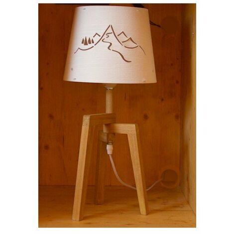 Lampe à poser avec abat-jour ajouré et pied en bois - E27 - Bois et blanc