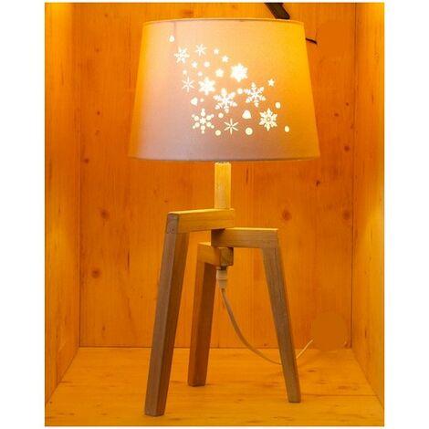 Lampe à poser avec abat-jour ajouré et pied en bois - E27 - Bois et crème