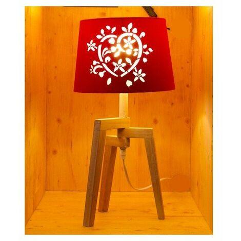Lampe à poser avec abat-jour ajouré et pied en bois - E27 - Bois et rouge