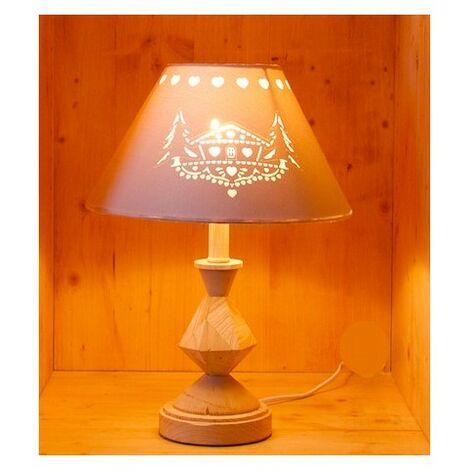 Lampe à poser avec abat-jour ajouré et pied en bois sculpté - E14 - Bois et crème