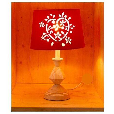 Lampe à poser avec abat-jour ajouré et pied en bois sculpté - E14 - Bois et rouge