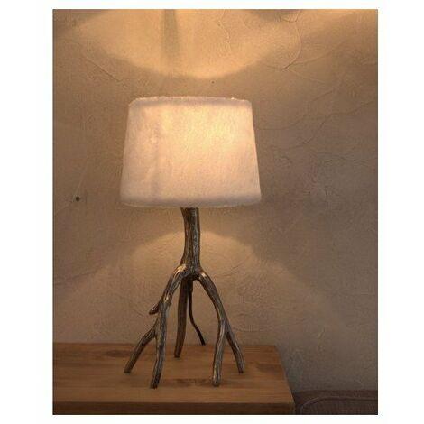 Lampe à poser avec abat-jour en fausse fourrure blanche et pied métal - E27 - Acier et blanc