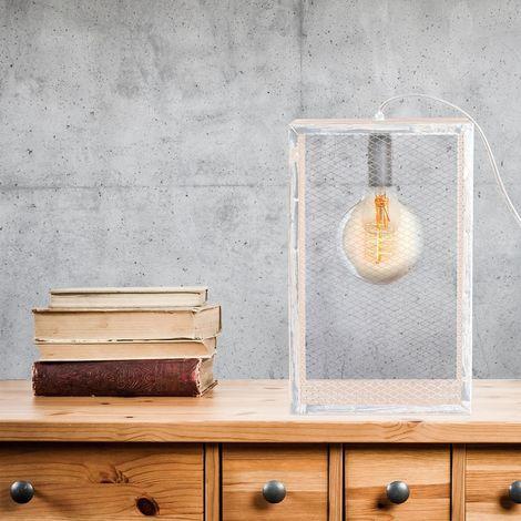 Lampe à poser avec cadre en bois Louise - H. L. 18 cm - Blanc - Blanc