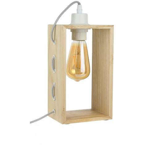 Lampe à poser avec cadre en bois Louise - L. 14 cm - Bois naturel - Marron