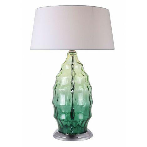 Lampe à poser avec pied en verre vert – design chic contemporain – ARTY
