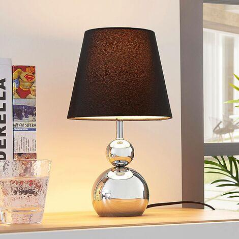 Lampe à poser (Avec variateur d'intensité tactile) à intensité variable 'Andor' en textile pour chambre à coucher