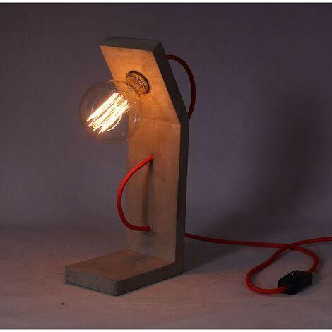 Lampe à poser béton - Design contemporain industriel - cordon rouge – Grand FACTORY 01