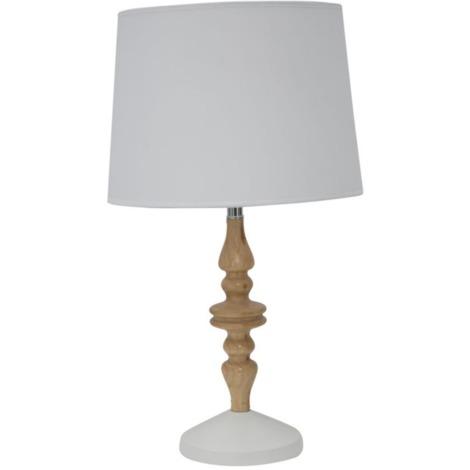 Lampe à poser blanc en bois éclairage intérieur style scandy BOSTON